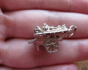 Vintage Sterling Silver Moving Market Stall Charm