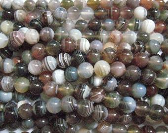 botswana agate round bead 8mm 15 inch strand