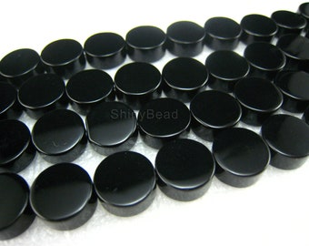 high quality Black Onyx flat coin bead 10mm 15 inch strand