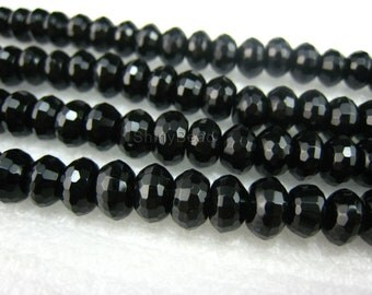 black onyx faceted rondell 8x5mm 15 inch strand