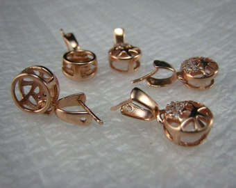 two-in-one  rose gold tone sterling silver bail