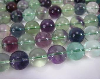 natural fluorite round beads,  12mm rainbow fluorite gemstone beads, green fluorite, puple fluorite ball beads,  12mm beads, 15 inch strand