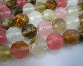 fire cherry quartz faceted round 8mm 15 inch strand