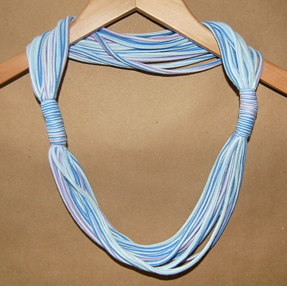 Double Knotted Upcycled T-Shirt Necklace/Scarf in White, Blue, Purple Pastel Stripes