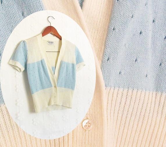 1970s Sweet Light Blue and Cream Cropped Sweater/Shrug/Cardigan
