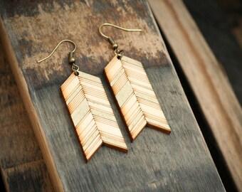 Chevron Laser Cut Wood Earrings - Gold