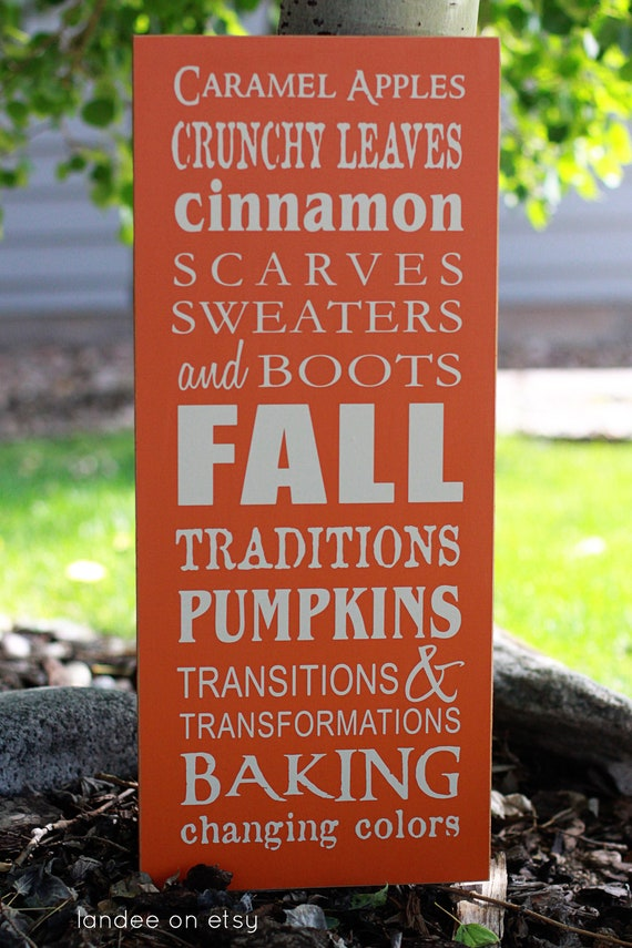 Fall Typography Decorative Sign-- subway art