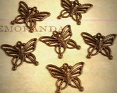 Vintaj Natural Brass {Filigree Butterfly Charms} 6 Pcs - Exclusive | Limited Stock