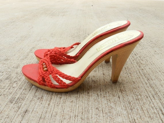 70's DIVA RED HEELS Wood Mules / Wood Heel / by SolGood808