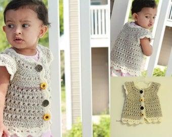Pattern: Crochet Sweater Jacket Bolero Baby Newborn Toddler Winter wear Girls Trendy Cute Dewdrops Designs
