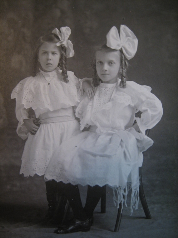 Vintage Cabinet Photo - two sisters