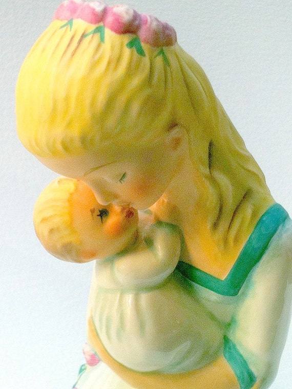 Vintage Mother Embracing Child Figurine 1959  Yellow Teal Pink, New Mother, Baby Shower, HUMMEL Byj 36 Tmk 6 Goebel Teal Rose Yellow White
