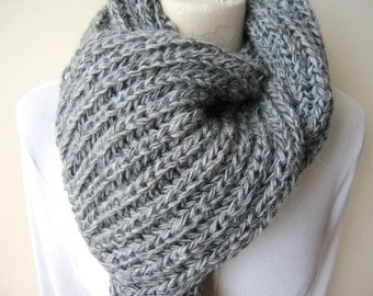Grey knit scarf Man fashion, gray knitted scarves Turkey, knit long men's scarf, neck warmer-Winter accessories gift for her him-scarves