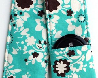 DSLR Camera Strap Cover - Padding and Lens Cap Pocket -  Floral Turquoise Brown