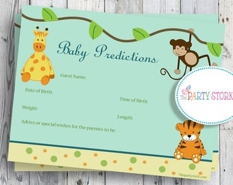 Safari Baby Shower Game, Printable Baby Prediction Cards, Jungle theme, Tiger, Giraffe, Monkey, Other games available. INSTANT DOWNLOAD