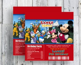 Mickey Mouse Candy Bar Wrappers, Printable Birthday Party Favor,  Matching Invitation Available and More, DIY, YOU PRINT