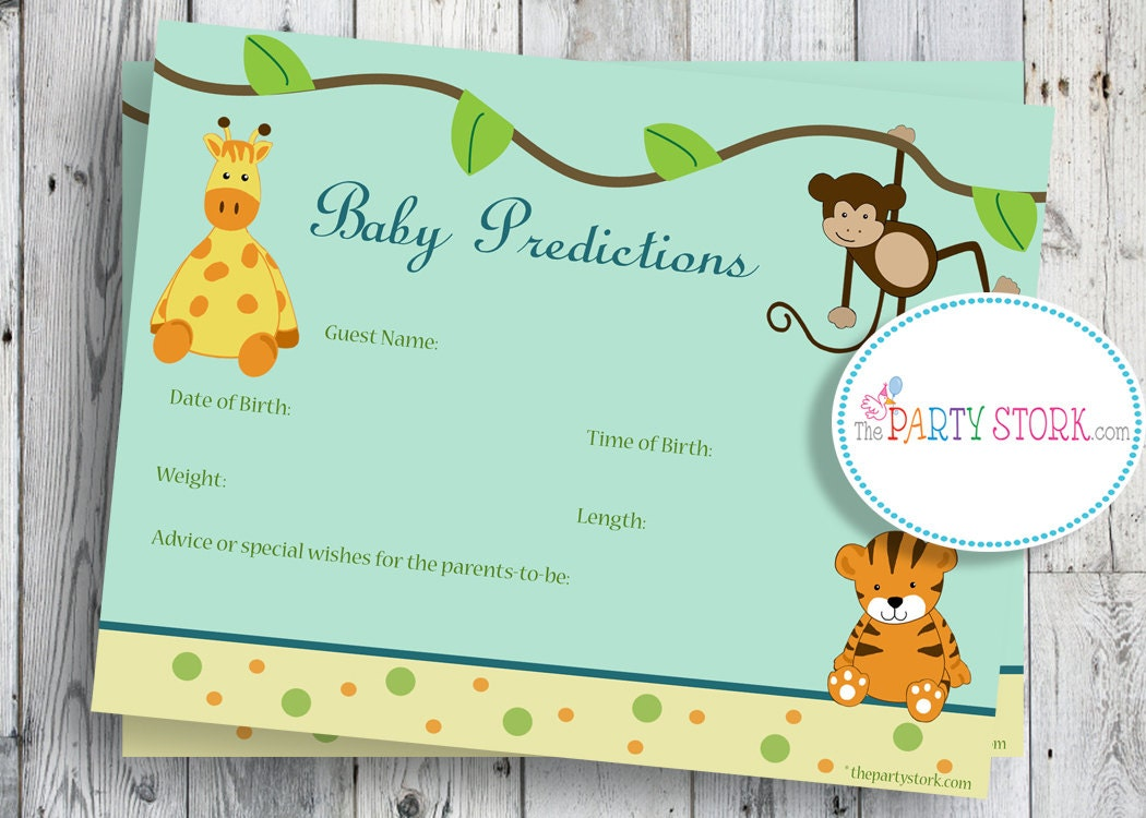 safari baby shower game printable baby prediction cards