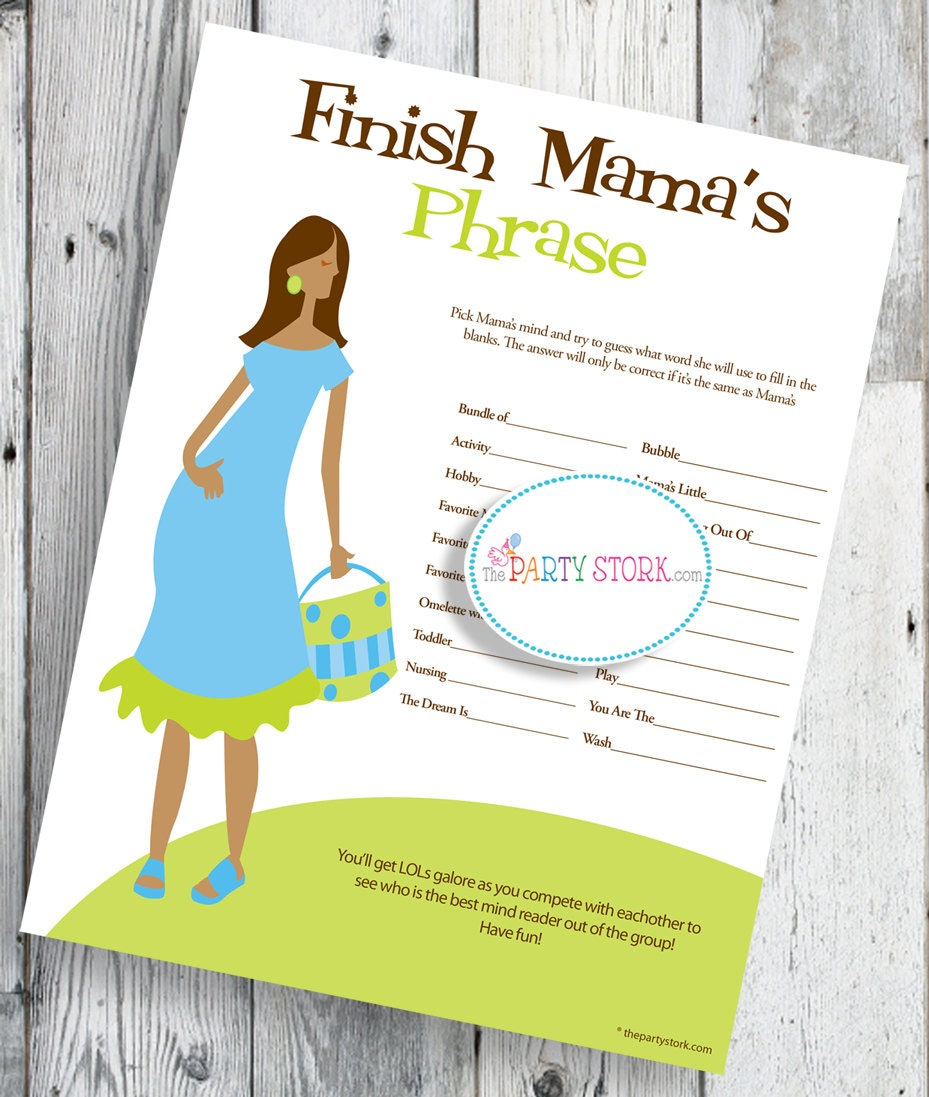 baby shower games finish mama 39 s mommy 39 s phrase