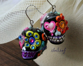 Skull in a-day is the day of the dead skulls black love earrings stone ES0086