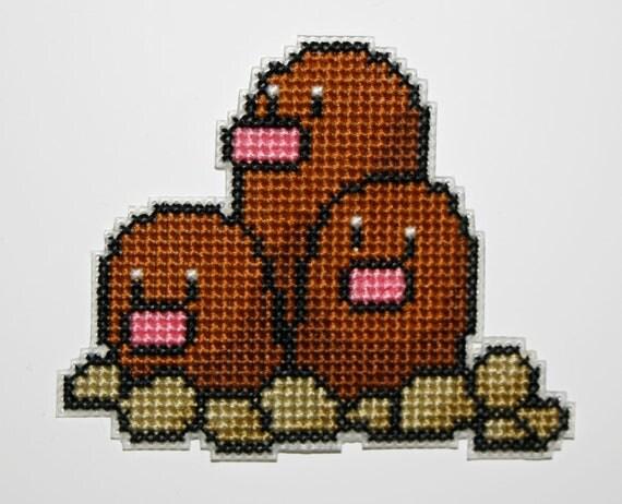 Cross stitch Dugtrio Pokemon Magnet