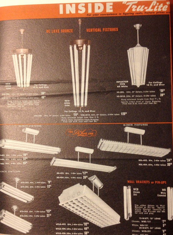 Vintage Industrial Light Fluorescent Fixture Catalog Brochure