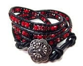 Bohemian Czech glass 4 times leather wrap bracelet 'Scarlet Red & Jet Black Mix' - beach, surfer, summer fashion, boho chic, stacking.