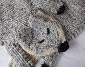 Knit Fox Scarf, grey crossbody stole, wool blend shawl, knit animal wrap, heather grey wrap, silver fox, woodland animal, knit shrug