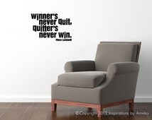 "Vince Lombardi quote ""Winners never quit.  Quitters never win."" Motivational Inspirational Quote Wall Decal Football Packers"