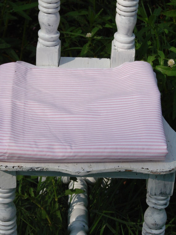 Vintage Pink and White Striped Polished Cotton Fabric