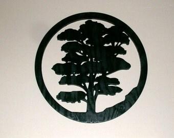 Oak Tree Distressed Wood Silhouette Wall Decor Original Modern Wall Art