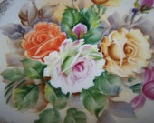 Rose Plate Hand Painted Plate Vintage Flower Plate Hand painted Roses Plate