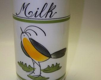 Italian Milk Glass Bottle Bird Bottle Milk Bottle