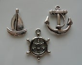 200 Mixed Charms Variety Anchor - Boat - Wheel Rudder Wedding Invites Party Favors Antique Silver Finish