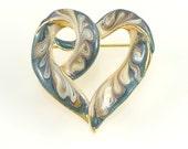 Vintage Heart Brooch, Enamel Jewelry, Romantic Love Jewelry, Teal Blue Gold Cream Ivory Swirls