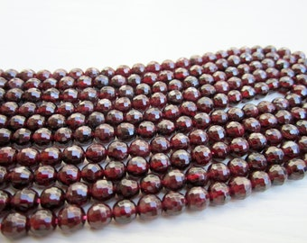 "GB-1076 - Natural Garnet Faceted Round Beads - 6mm Gemstone Beads - 16"" Strand"