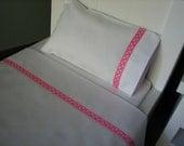 """American Girl /18"""" Doll Bedding - 3 Piece Linen/Sheet Set - Sheet, Pillow, Pillowcase - Light Pink Polka Dot"""