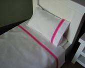 "American Girl /18"" Doll Bedding - 3 Piece Linen/Sheet Set - Sheet, Pillow, Pillowcase -Bright Pink w/ White Dash"