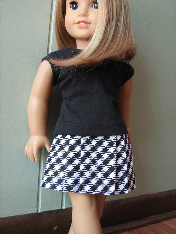 """American Girl Doll Clothes / 18"""" Doll Black and White Houndstooth Skirt and Black Top"""