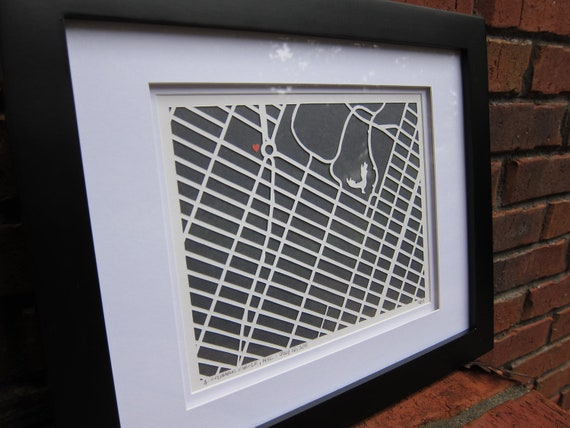 For JESSICA 8x10 Hand Cut Three Layer Map Mounted and Framed