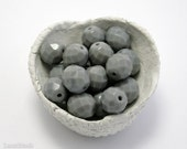 Large Gray Czech Fire Polished Beads 10mm (10) Opaque Polish Faceted Glass Round Big LAST