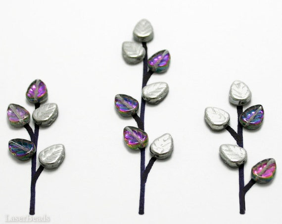 Silver Czech Glass Leaf Beads 10mm (30) Opaque Purple Teal Matallic Pressed Leaves Tree Branch