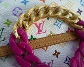 Fushia Pink and Gold Chunky Bracelet