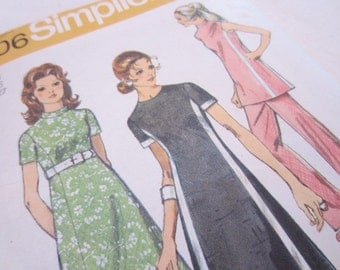 Vintage 1970's Simplicity Sewing Pattern 9206 for dress,  tunic blouse, and pants size 14, bust 36, waist 27