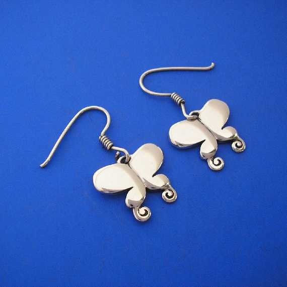 Silver Butterfly Dragonfly Earrings , Hand Made Solid Silver Jewelry Jewellery
