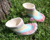 felted shoes- felted raibow kids shoes- autumn baby shoes