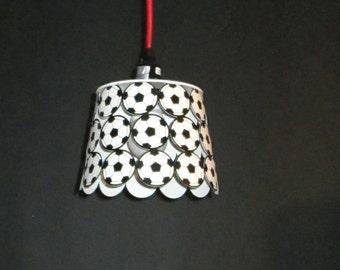 Soccer, kids room, pendant light,  re-purposed lighting, black and white