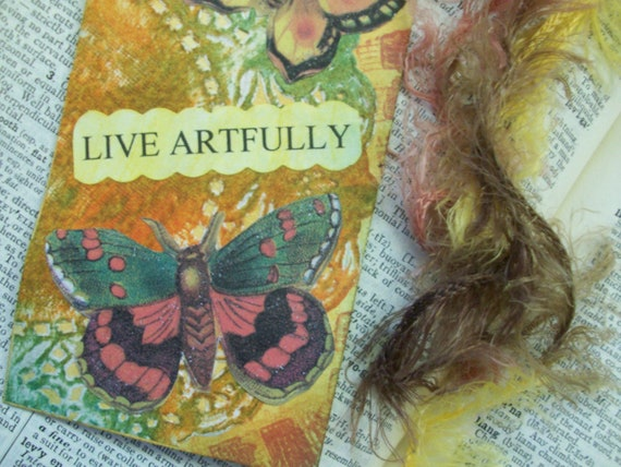 "OOAK Art Collage Tag / Bookmark ""Live Artfully"""
