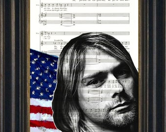 Kurt Cobain Altered Image with red white and blue flag on upcycled music sheet print mixed media digital print art