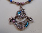 Handmade Bird Wire Turquoise Rhodonite Lapis Lasuli Copper Necklace