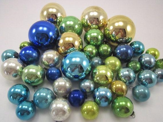 41 Vintage Mercury Glass Ornaments Multi Colored